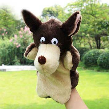 New Kids Lovely Animal Plush Hand Puppets Childhood Soft Toy Wolf Shape Story Pretend Playing Dolls Gift For Children