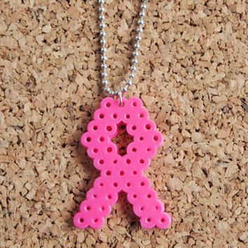 Breast Cancer Ribbon Charm - Perler bead hanna fusible 8 bit pixel charm awareness susan b komen women FREE Shipping