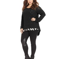 ING Plus Size Long-Sleeve Printed-Back Sweater