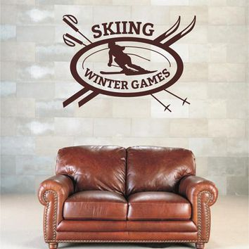 ik2584 Wall Decal Sticker skier skiing Winter Games sports shop stained glass