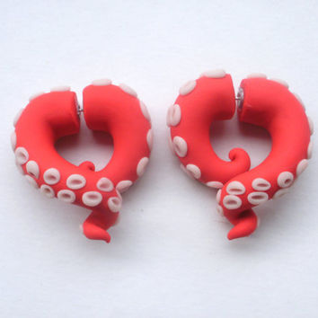 Sushi Tentacle Gauged Earring- Octopus - Piercing- Water - Cthulhu- Stretched