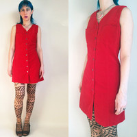 90s Clothing Velvet Dress Red Velvet Dress Vintage 90s Velvet Dress Button Down Dress Dress With Pockets  Size Medium/ Large