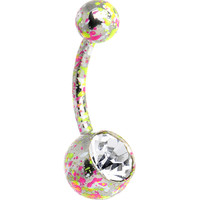 Crystalline Gem Pink Yellow Green Neon Speckles Belly Ring | Body Candy Body Jewelry