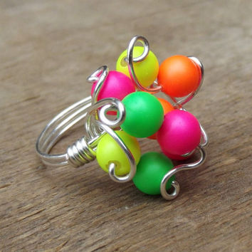 Neon Ring:  Colorful Wire Wrapped Jewelry, Hot Pink, Lime Green, Bright Orange & Yellow