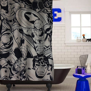 marvel super heroes comics characters custom shower curtain