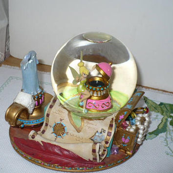 Disney Music Box Snow Globe, Disney Peter Pan Music Box, Mermaid Lagoon, Neverland, Vintage Collectible, Tinker Bell