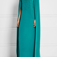 Oscar de la Renta - Cape-effect embellished silk-satin gown