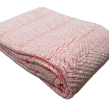 Cozy Bed - Egyptian Cotton Herringbone Weave Blanket Full/Queen Blush
