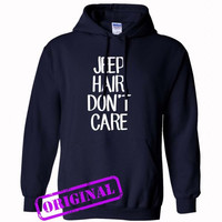 Jeep Hair Don't Care for hoodie navy, hooded navy unisex adult