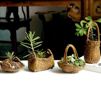 Resin imitation bamboo weaving Flower Pot Basket Wall Hanging the cane wicker Garden decoration