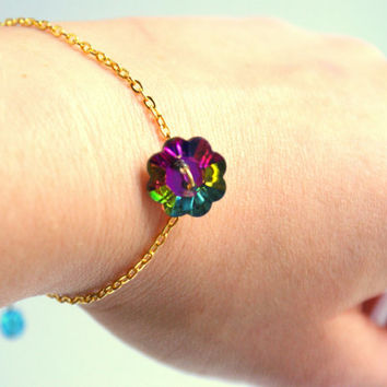 Holographic Daisy Bracelet on a Dainty Chain