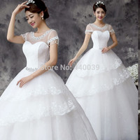 2016 New Arrival White Scoop Neck wedding bridal ball gown Embd Crystal Lace wedding dress FD26