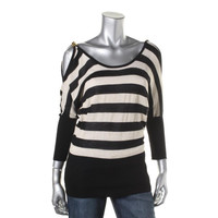 XOXO Womens Shimmer Striped Blouse