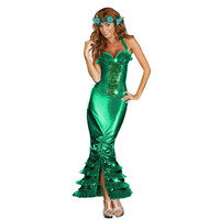 Sexy Sea Siren Costume Adult Halloween Mermaid Fancy Dress Girl's summer dress