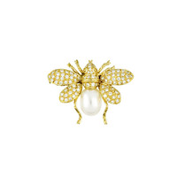 18 Karat Yellow Gold Diamond and Pearl Bumblebee Pin