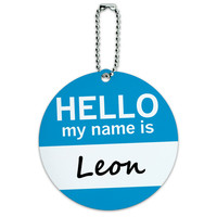 Leon Hello My Name Is Round ID Card Luggage Tag