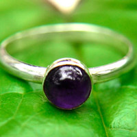 Amethyst Ring with Silver, Silver Stacking Ring with Amethyst Gemstone, February Birthstone, Bridesmaids Gifts, Free Shipping
