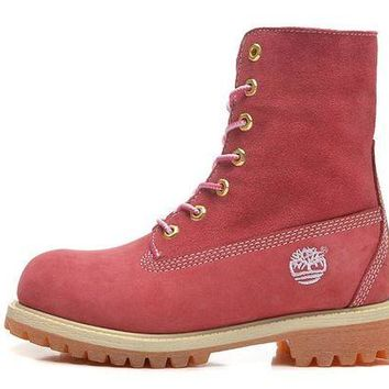 DCCKBE6 Timberland Rhubarb Boots 10061 High Tops Shoes Pink Waterproof Martin Boots