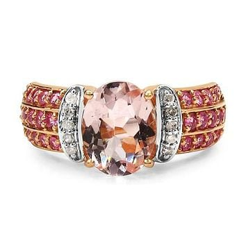 A Perfect 2.76CT Oval Cut Genuine Morganite Pink Sapphire Rose Gold Engagement Ring