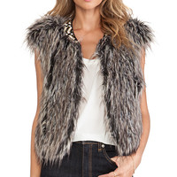 Twelfth Street By Cynthia Vincent Faux Fur Vest in Brown