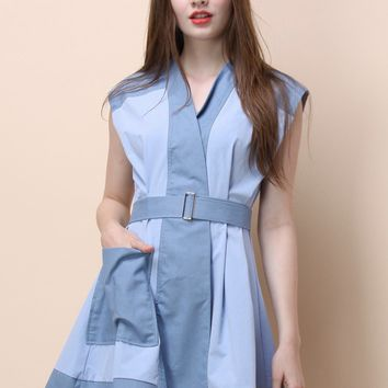 Fave of Patch Belted Dress in Blue