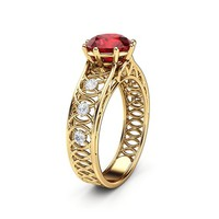 Unique Engagement Ring Ruby Engagement Ring Yellow Gold Ring gemstone Ring