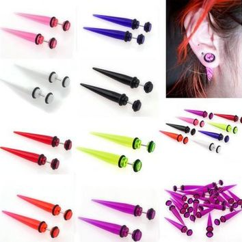2pcs Acrylic Ear Stud Plugs Taper Gauges Expander Stretcher Stretching Ear Piercing