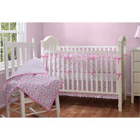 Walmart: Baby Boom Mosaic Girl Reversible 4pc Crib Bedding Set