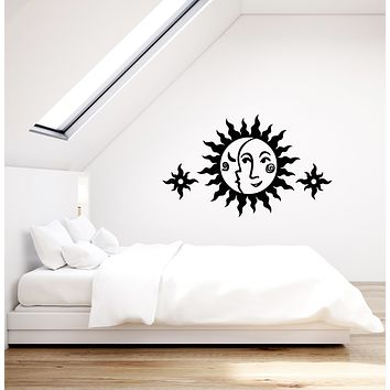 Vinyl Wall Decal Sun And Moon Face Ornament Children's Room Decor Stickers (3768ig)