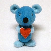 Stuffed mouse toy with heart