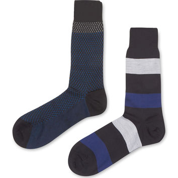 Punto Men's Mid Calf Printed and Striped Socks (2 Pack)