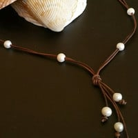 10 Freshwater Pearl Lariat Necklace on AAA Leather