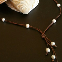 Quality Guaranteed 10 Freshwater Pearl Lariat Necklace on AA Leather