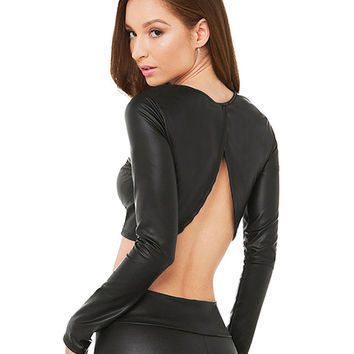 Black Long Sleeved Backless Faux Leather Crop Top