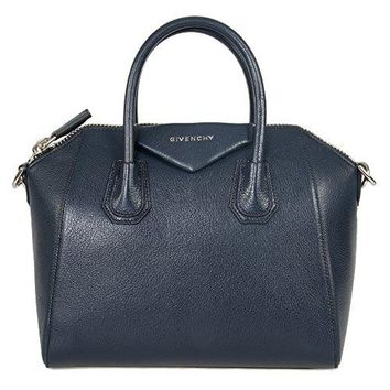 Givenchy Women's Antigona Sugar Goatskin Leather Satchel Bag, Matte Night Blue