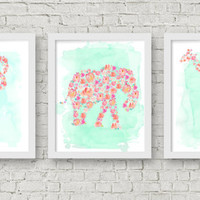 Set of Three Watercolor Floral Animal Prints, Nursery Art - INSTANT DOWNLOAD - Printable