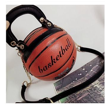 basketball ball sphere crossbody purse handbag clutch tg