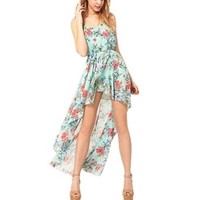 Floral Print Round Neck Sleeveless High Low Chiffon Dress