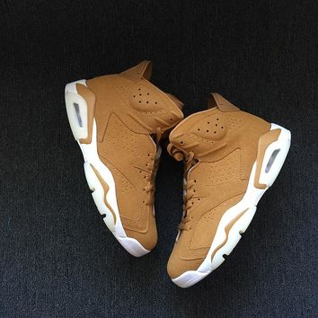 Best Deal Online Nike Air Jordan Retro 6 Wheat  Golden Harvest/Elemental Gold Men Sneakers Women Sports Shoes 384664-705