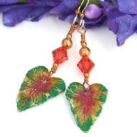 Handmade Leaf Earrings Brass Green Coral Swarovski Tropical Jewelry
