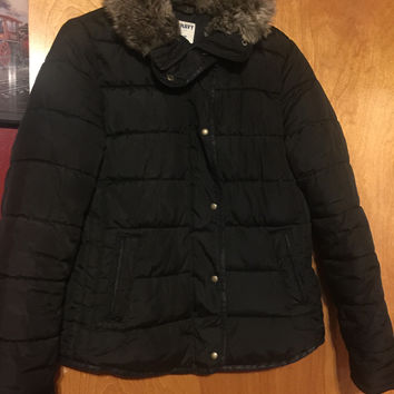 Old Navy Girls Winter Black Hooded Jacket Size Small