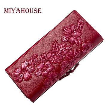 Miyahouse Genuine Leather Women Wallets Embossed Floral Long Purses Female Card Holder Wallet Luxury Leather Hasp Clutch Purse