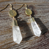 Crystal Quartz Point Gold Dangle Earrings