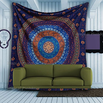 Plush Decor - Blue Mandala Tapestry Elephant Tapestries Hippie Bohemian Wall Hanging Boho Beach throw Psychedelic Bedsheet Queen Cotton Bedspread