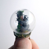 Rainforest Sloth Mini Terrarium Glass Dome Adjustable Ring - Free Worldwide Shipping