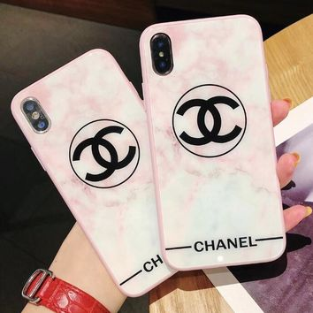 Fashionable Women Cute Pink White Glass Mobile Phone Cover Case For iphone 6 6s 6plus 6s-plus 7 7plus 8 8plus X
