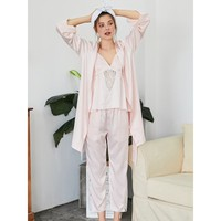 Lace Insert Cami Pajama Set With Robe PINK