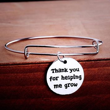 Thank You For Helping Me Grow Pendant Charm Bracelet Jewelry Father Mother Teacher Best Friends Gifts Bangle Love