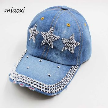 miaoxi High Quality New Fashion Women Baseball Cap Denim Cotton Adjustable Summer Hat Sun Casual Adult Female Snapback Sale