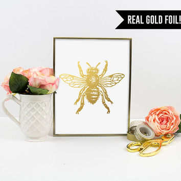Real Gold Foil Print. Bumble Bee Gold Foil Art Print. Bee. Insect Animal. Modern Home Decor. Office Art. Chic and Trendy. Graphic Art Print.